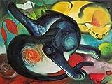 1art1 77759 Franz Marc - Zwei Katzen, Blau Und Gelb, 1912, 2-Teilig Fototapete Poster-Tapete 240 x 180 cm