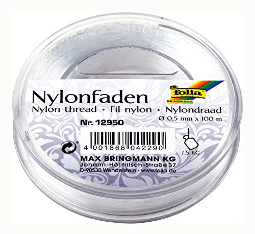 Folia Nylonfaden auf Spule, transparent, 0,50mmx100m, Tragkraft 7,5kg