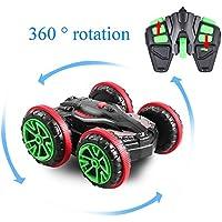 Profun Coche Teledirigido Anfibio Stunt Coche RC 4WD Doble Lado Rotación de 360 Grados de Alta Velocidad Control Remoto 2.4GHz para Niños/Adultos (Baterías Incluidas)