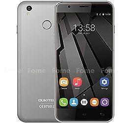Oukitel U7 Plus - 5,5 pollici HD Android 6.0 4G smartphone quad-core a 1,3 GHz 2 GB di RAM 16 GB ROM scanner di impronte digitali GPS Dual SIM 13 MP - Grigio