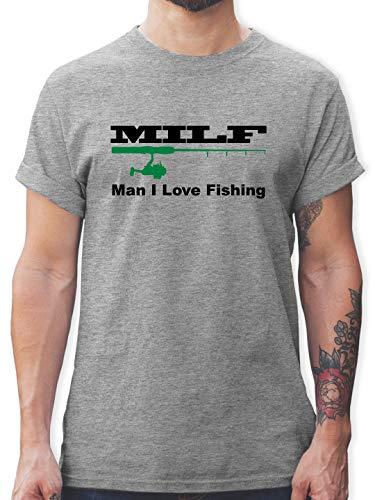 Angeln - Milf Man I Love Fishing - M - Grau meliert - L190 - Herren T-Shirt und Männer Tshirt
