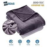 HYSEAS Kuscheldecke 150 cm x 200 cm, dunkelgrau, aus samtweichem Plüsch, Öko-Tex gepr üft, Fleecedecke/Sofadecke/Wohndecke/Tagesdecke