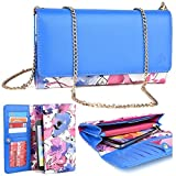 Kro O Nokia Lumia 1320, 1520 Phone Case | 2016 Electric Blue/Pink Floral Beach Crossbody Wallet