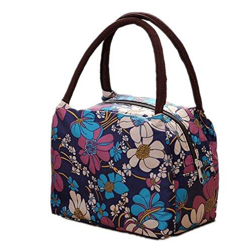 Rieovo 2017pranzo borse per donne floreale a strisce contenitore termico per pranzo picnic, Kids uomo Cooler Tote Purple Orchid