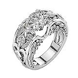 DAY.LIN Ringe Für Damen Ring Damen Der Herr Der Ringe Silber natürliche Rubin Edelsteine Birthstone Braut Hochzeit Engagement Herz Ring (Weiß, 20mm)