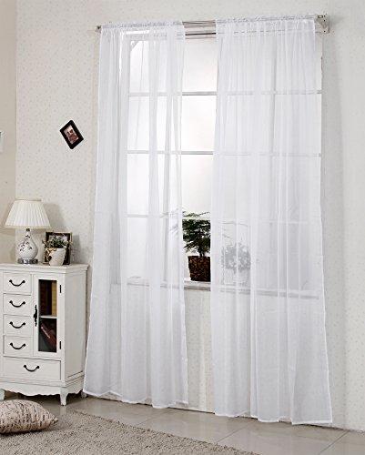 WOLTU VH5515ws Gardine Vorhang transparent mit 50mm KRÄUSELBAND Stores Schal Fensterschal Dekoschal Voile 140x225 cm Weiß