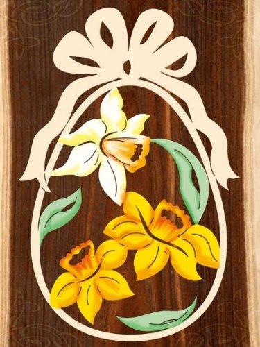 Fensterbild Ostern Narzissen - Ei - beidseitig coloriert - Holz ca. 23cm