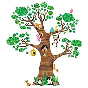 Decowall DL-1709 Gigant Großer Baum Waldtiere Tiere Wandtattoo Wandsticker Wandaufkleber Wanddeko für Wohnzimmer Schlafzimmer Kinderzimmer