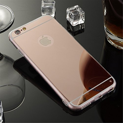 YANINA Coque Housse etui swag pour Apple iphone 6G/6S Plus 5.5 case mince Protection étui TPU silicone miroir Luxe brillant - Rose Rose