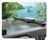 Relaxing Jacuzzi Bath overlooking the Ocean Mouse Pad, Mousepad (Oceans Mouse Pad)