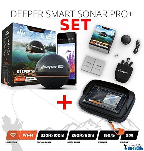 Deeper Smart Sonar Pro + Plus Wifi GPS Echolot Fishfinder + Smartphone Case Interne Gps Fishfinder