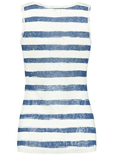Key Largo Damen T-Shirt WT Top Isabelle Gestreift Ärmellos Sommershirt Strasssteine Blau