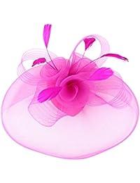 EXCHIC Mujer Sombrero De Fascinator Diadema Tocado de Plumas y Flores Para  Boda Headwear c3370b7a72e