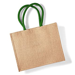 Westford Mill Classic Jute Shopper Bag (21 Litres) (One Size) (Natural/Forest Green)