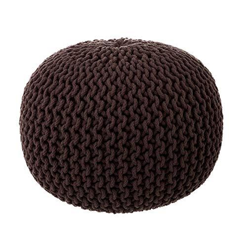 Puff Trenzado de algodón marrón nórdico para salón Bretaña - LOLA
