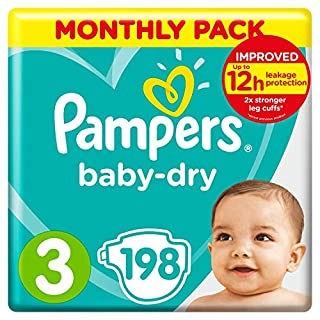 Pampers Baby-Dry Size 3, 198 Nappies, 6-10kg, Monthly Saving Pack, Air Channels for Breathable Dryness Overnight (B00AR9HX4U) | Amazon price tracker / tracking, Amazon price history charts, Amazon price watches, Amazon price drop alerts