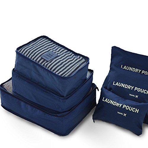NewPI Organizer da Viaggio.6 in 1 Bagagli Organizzatori Kit per Viaggio, 3 Cubi di Imballaggio + 3 Sacchetti-Bagagli Organizzatori, ,Beaty Case, lavanderie, Borsa asciugamano,ecc