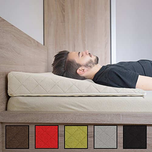 Salosan® Entspannungs- und Relaxkissen, Keilkissen für Bett/Couch/Liege/Sofa. Druckentlastendes Ruhekissen, Rückenkissen oder Beinkissen. Bettkeil Größe 90cm x 60cm Höhe 11cm Farbe: (Beige / Natur)