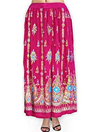 Fabcolors Casual Wear Full Length Rayon Flared Long Skirt With Sequence Embroidery Work ( Dark Pink )