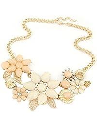 Sanwood Damen-Blume Kunstharz Halskette Halsband Kette Anhänger