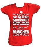 Artdiktat Damen T-Shirt - Wahre Schönheit Kommt Nicht von Innen - Sie Kommt Aus München Größe XL, Rot