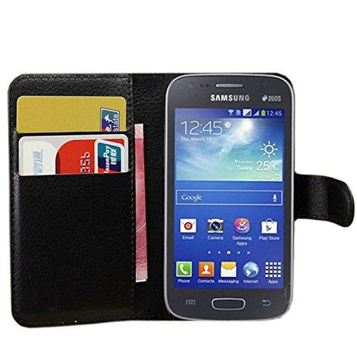 Ycloud Custodia Cover per Samsung Galaxy Ace 3 (4 Pollici) Portafoglio Tasca Book Folding Custodia in Pelle con Supporto di Stand Cover Case Custodia Pelle con Stilo Penna Nero