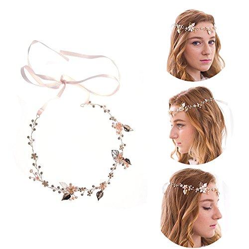 Haarschmuck von Oshide Blättern und Blumen Weiß Perlengirlande mit Strass Braut Braut Haarschmuck - 2