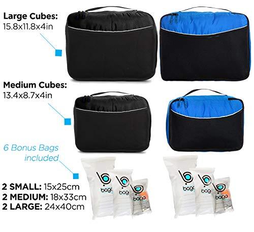 Luggage Packing Cubes 4pcs Value Set - Plus 6pcs Ziplock Bags - 2 x Black / 2 x Blue