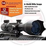 In Your Sights 4-16x50 Rifle Scope with tactical rails fits Weaver rails