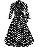 ZAFUL Mujer Vintage Vestido de Fiesta 3/4 Mangas Cuello en V Rockabilly Dress Tallas Grande Negro Punto 2XL