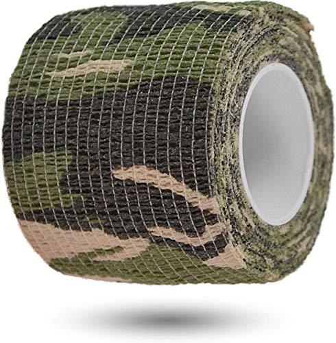 Survival Tarnband Gewebeklebeband selbsthaftend zur Tarnung von Outdoor Ausrüstungsgegenständen 5 cm x 4,5 m Rolle Farbe Woodland Woodland Band