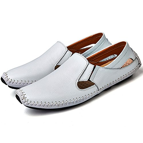 Herren Leder Business Loafers Mokassins Slip on Flach Driving Schuhe Weiß