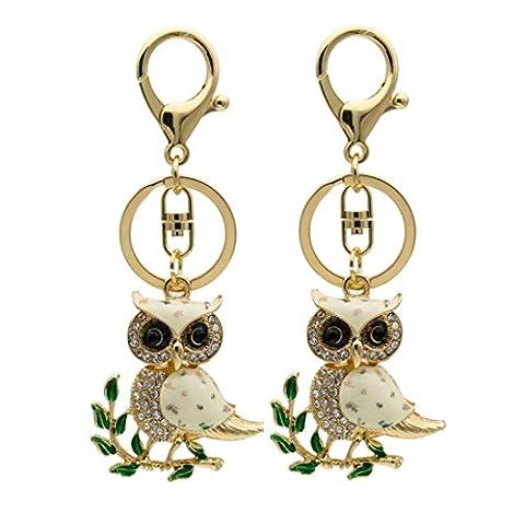 KesiErte Keychain de style européen Creative Branch Owl Strass Keychain Porte-clés Accessoires de voiture Pendentif Petit cadeau ,