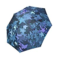 Kitchor Personalized Blue Stars Polyester Pongee Waterproof Fabric Foldable Umbrella