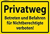 Privatweg warnungs schild gelb schild aus blech, tin sign, metallsign,