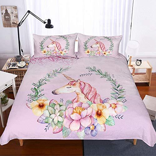 Soefipok Einhorn Bettwäsche Bettbezug-Set für Kinder, Cartoon-Einhorn mit rosa Haaren Blumen um gedruckt lila Bettwäsche-Set für Kinder, Jungen, Mädchen und Jugendliche, 3 Stück mit 2 Kissenbezug