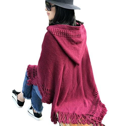 QQI Elegant Poncho Mantellina per Donna con Frange Incavato con Cappuccio 135-175cm Vino rosso