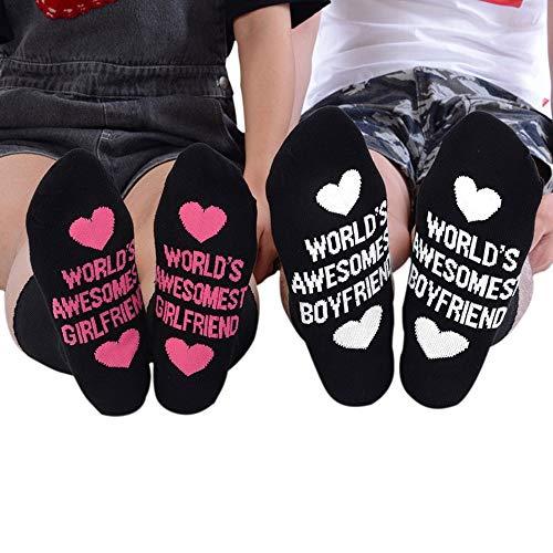 Womdee divertente lettere, mondi awesomest fidanzati lettera stampa cotone casual calzini del tubo calze pantofola calze harajuku boyfriend, black