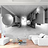 Fototapete 3D - Kugel Grau 396 x 280 cm Vlies Wand Tapete Wohnzimmer Schlafzimmer Büro Flur Dekoration Wandbilder XXL Moderne Wanddeko - 100% MADE IN GERMANY - Runa Tapeten 9229012c