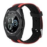 Fosa Microwear Musik Smart Watch Musik Wiedergabe Sport Uhr Telefonanrufe und Nachrichten Erinnerung Herzfrequenz-Monitor, Schlafmonitor, Schrittzähler Uhr(schwarz,rot,silber,blau)(Rot)