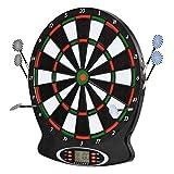 WWSZ Profi Dartscheibe elektronisch Dartboard, 18 Spiele und 159 Varianten bis zu 8 Spieler, inkl. Pfeile Soft Dart 3-Loch Abstand