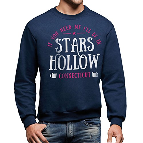 Felpa Girocollo I WILL BE IN STARS HOLLOW - GILMORE GILRS - FILM by Mush Dress Your Style Blu navy