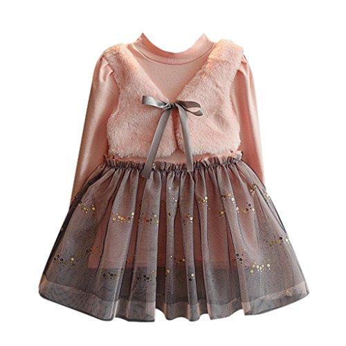 Culater® ragazzo ragazza bambino denso intreccio delle maglie a maniche lunghe splicing vestito da principessa (4T)
