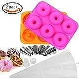 Goodlucky365 2 moules à Donut en Silicone, 6 pointes en glaçage en acier inoxydable, 1 sac à pâtisserie en silicone semi-transparent, 1 prise de commutation