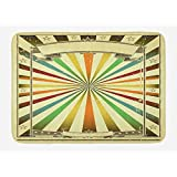 TRAzz Vintage Rainbow Bath Mat, Colorful Burst of Lines with Poster Design with Stars Circus