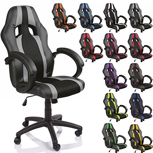 TRESKO Chaise Fauteuil siège de bureau racing sport rayé ergonomique inclinable accoudoirs rembourrés, de 13 couleurs différentes, Lift SGS contrôl