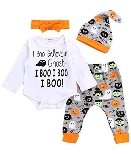 Weant Halloween Kostüm Baby Jungen Mädchen Neugeborenen Bodysuit Halloween Costume Tops Hose Headband Outfit mit Mütze (0-6 monate, Weiß)