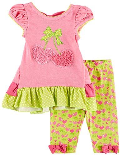 Nannette Cherry Leggings Set grün für Baby - Mädchen 24 Monate Rosa/Grün Nannette Baby Set