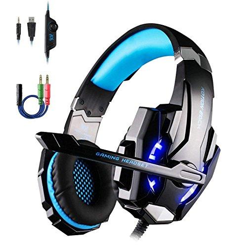 Dpower G9000 Auriculares Gaming con Microfono para PS4 PC Móvil, Cascos Gaming Estéreo con Cancelacion Ruido, Volumen Control, Luz LED