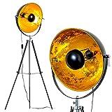Stehlampe Saturn, Vintage Stehleuchte mit Lampenschirm in Gold/Schwarz aus Metall, Ø 40 cm, E27-Fassung, max. 40 Watt, verstellbare Bodenleuchte im Retro-Design, auch geeignet für LED Leuchtmittel
